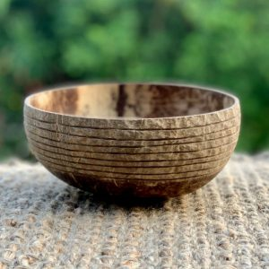 Coconut Bowl handcarved Linear Design