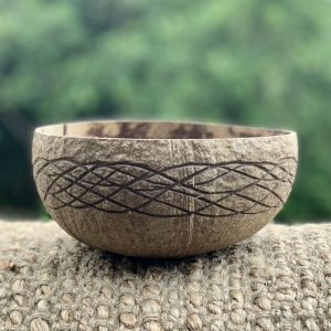 Coconut Bowl Hand carved Ocean Design