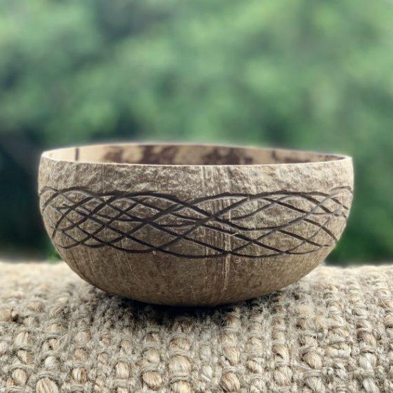 Coconut Bowl Hand carved Ocean Design