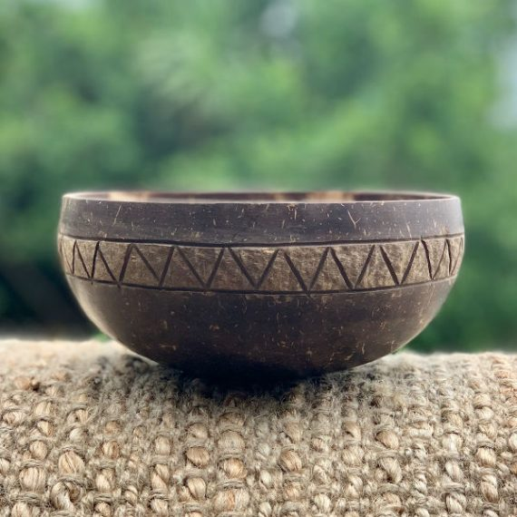 Coconut Bowl Handcarved Tribal Design