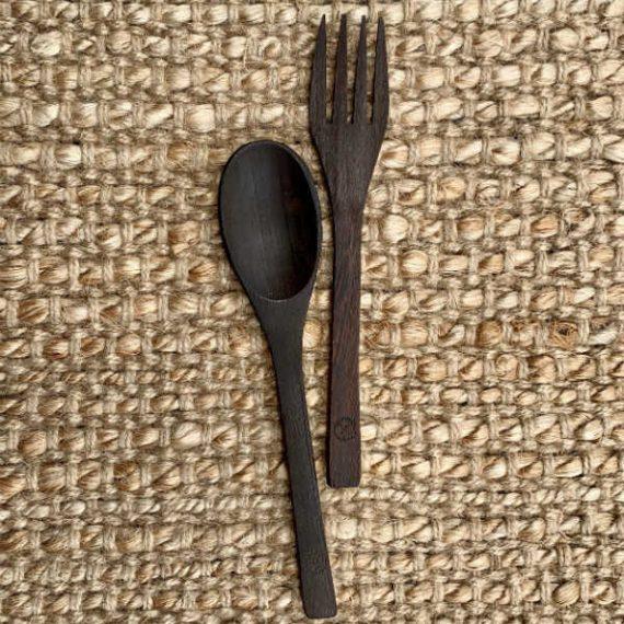 Ebony Wood Cutlery Set