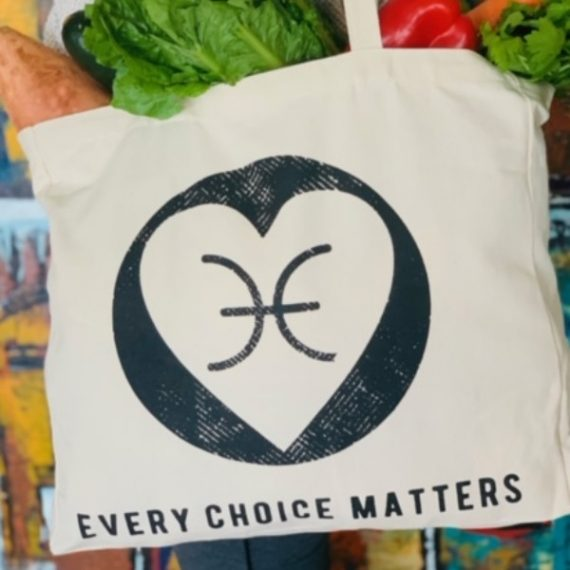 Organic Cotton tote Bag with black heart