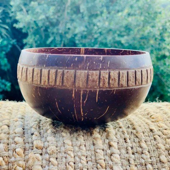Coconut Bowl Handcarved Bronze Design