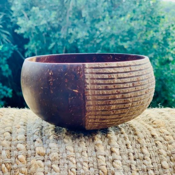 Coconut Bowl Handcarved Masai Design